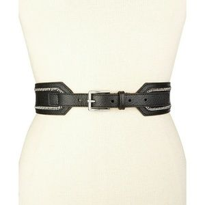 New! MICHAEL KORS Leather Belt with Chain-inlay